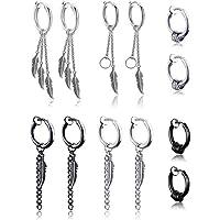 6 Pairs Kpop Feather Earrings Dangling Earrings Stainless Steel Huggie Hoop Earrings Drop Dangle Earring Chain Earrings for Men Women Teen Boys Girls Jewelry Set