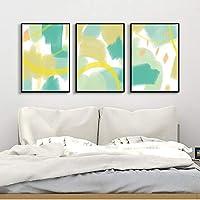 SHANGRUIYUAN-ウォールアート 抽象的な緑の幾何学的パターンキャンバスプリントウォールアート絵画壁画絵画テレビの背景の壁ポーチ回廊サイズ40 * 60センチメートルハンギング3 PCS キャンバスアート