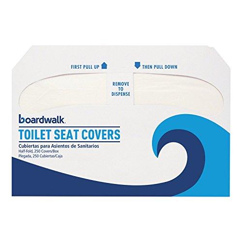Boardwalk K2500 Premium Half-Fold Toilet Seat Covers, 250 Covers-Box, 10 Boxes-Carton