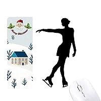 ウィンタースポーツのパターンのスケートの女性 サンタクロース家屋ゴムのマウスパッド
