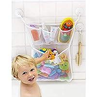 PIKANCHI おもちゃ 収納袋 お風呂ハンモク 多用途 子供玩具 片付けネット 3つのポケット付き 吸盤式 メッシュバッグ 学習収納 子供部屋収納 大きめ