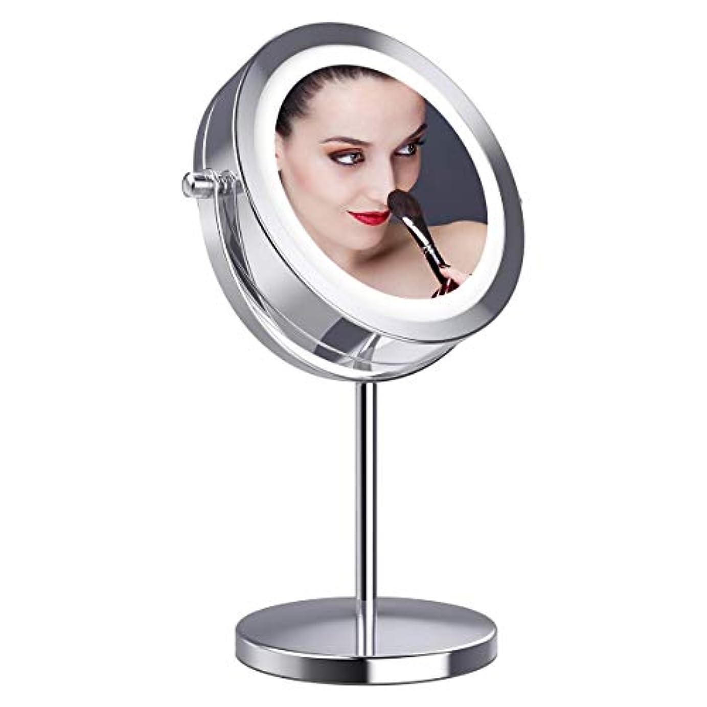 チャーミング放置爆発物拡大鏡10倍 LED拡大鏡 化粧鏡 LEDミラー 卓上ミラーled 化粧ミラー 360度回転ミラー LEDライト付きミラー 真実の北欧風卓上鏡 卓上鏡 LED化粧鏡 両面化粧鏡 スタンドミラー「Gospire」