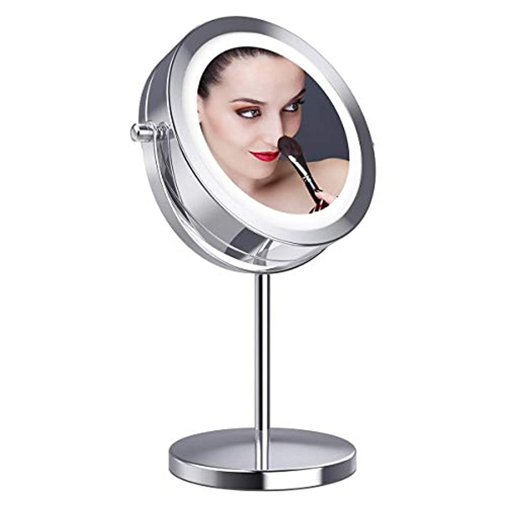 女王場合次へ拡大鏡10倍 LED拡大鏡 化粧鏡 LEDミラー 卓上ミラーled 化粧ミラー 360度回転ミラー LEDライト付きミラー 真実の北欧風卓上鏡 卓上鏡 LED化粧鏡 両面化粧鏡 スタンドミラー「Gospire」