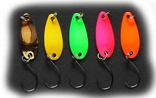 5個セット ロッキーマウンテンアウトフィッターズ・マイクロスプーン(ルアー&フライ管釣り用)1.5gアクティブカラーセット