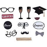 2019年の卒業の写真ブースの小道具党卒業パーティーのための独身帽のコップの紙ひげ