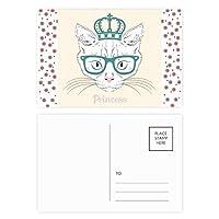 クラウン・サングラスの白い猫姫 クリスマスの花葉書を20枚祝福する