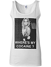 Where is My Cocaine Night Out Novelty White Women Vest Tank Top-XXL