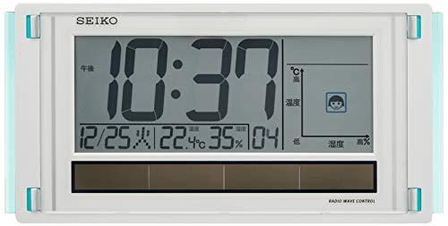 セイコー クロック 掛け時計 置き時計 兼用 快適環境NAVI 電波 デジタル ハイブリッドソーラー カレンダー ...