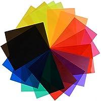 Bullidea 1 Set Gel Filter Card Transparent Color Film Plastic Sheets Correction Gel Light Filter Card, 12 Colors(12 Pcs Filter+ 1 Pcs Magic Sticker+1 Pcs Bag)