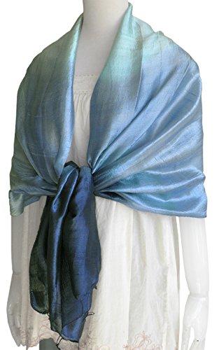 ストール シルク 手紡ぎ グラデーション染め 大判 スカーフ レディース(ブルー系)165×65cm