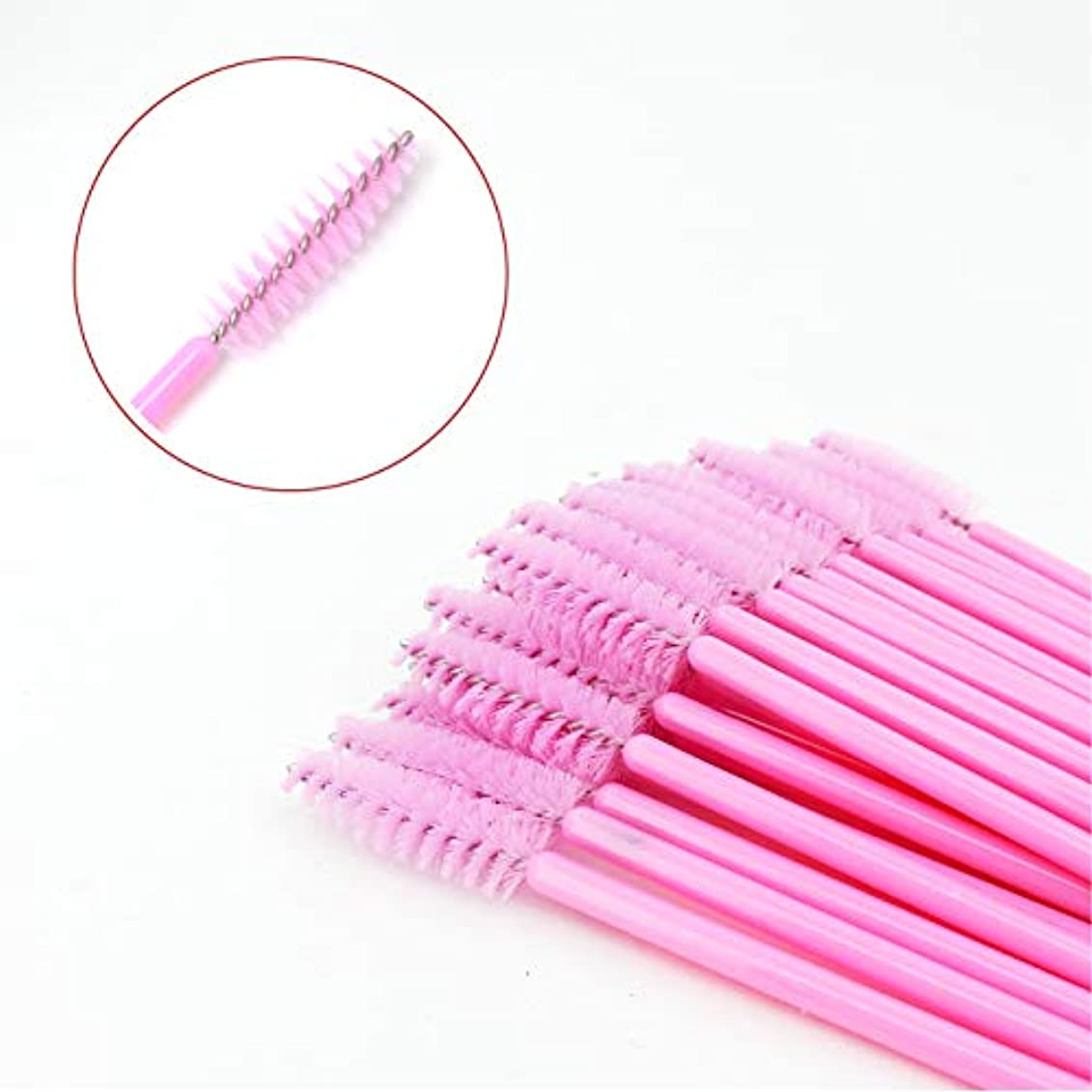 責める頂点十分なLASHVIEWまつげブラシ 使い捨て スクリューブラシ まつげコーム マスカラブラシメイクブラシ アイメイク 化粧用品 ピンク 100pcs