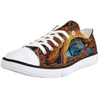K0k2t0 Canvas Sneaker Low Top Shoes,Dinosaur,Silhouettes of People Looking at a Tyrannosaurus Rex Skeleton in a Museum Decorative