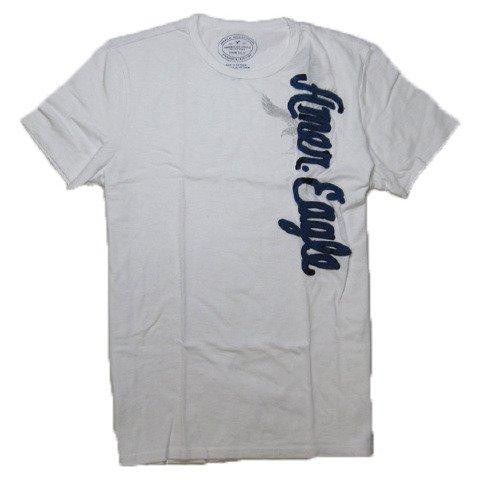 メンズ 半袖 Tシャツ (ホワイト 縦ロゴアップリケ) アメリカンイーグルアウトフィッターズ