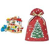 バンダイ (音声付きハウス) アンパンマン チャイムがピンポン♪あそびがいっぱい アンパンマンはじめてハウス + インディゴ クリスマス ラッピング袋 グリーティングバッグ3L クリスマスツリー レッド XG983