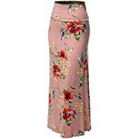 Women's Stylish Fold Over Flare Long Maxi Skirt - Made in USA (S ~ 3XL)