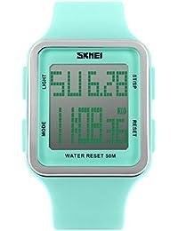 子供腕時計 学生腕時計 LEDwatch アウトドア腕時計 50M防水 デジタル表示 アラーム ストップウオッチ 曜日 日付機能 グリーン