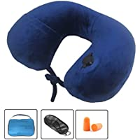 (Blue2) - SMING Ultimate Comfort Inflatable Travel Pillow Ultralight U Shape Velour Aeroplane Neck Pillow with Portable Pouch(Blue)