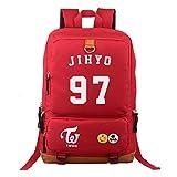 Fanstown KPOP 韓流 TWICE 赤いロゴをマークしたリュックサック リュック バックパック - ペンケース組み合わせ製品 (JiHyo-ジヒョ)