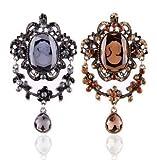 アンティーク調 宝石のような カラーが 素敵な カメオ風 ブローチ