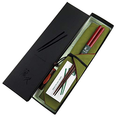 塗分け秀月 箸袋(緑) 梅小枝箸置き お箸拭き付 特別セット 朱21cm 天然木 気軽に贈れる、盛りだくさんな特別セット (紙箱)