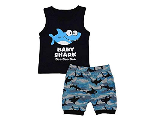 Listogether Toddler Kids Clothing Baby Boys Cute Sleeveless Shark Vest Tank Top+Short Pants Trousers 2Pcs Outfits Clothes - Black - 18-24 Months