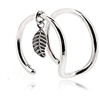 Sovats Ear Cuff Double Line and Leaf Earrings For Women 925 Sterling Silver Rhodium Plated - Simple, Stylish Stud Earrings&Trendy Nickel Free Earring