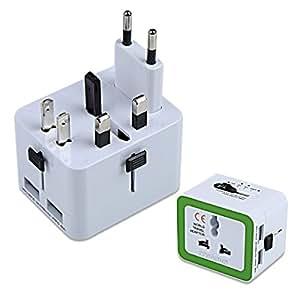 Crenova QU-02海外旅行用変換プラグ安全旅行充電器150国通用 二個USB充電ポート付き(US / UK / EU / AU)USB最大出力2.4A