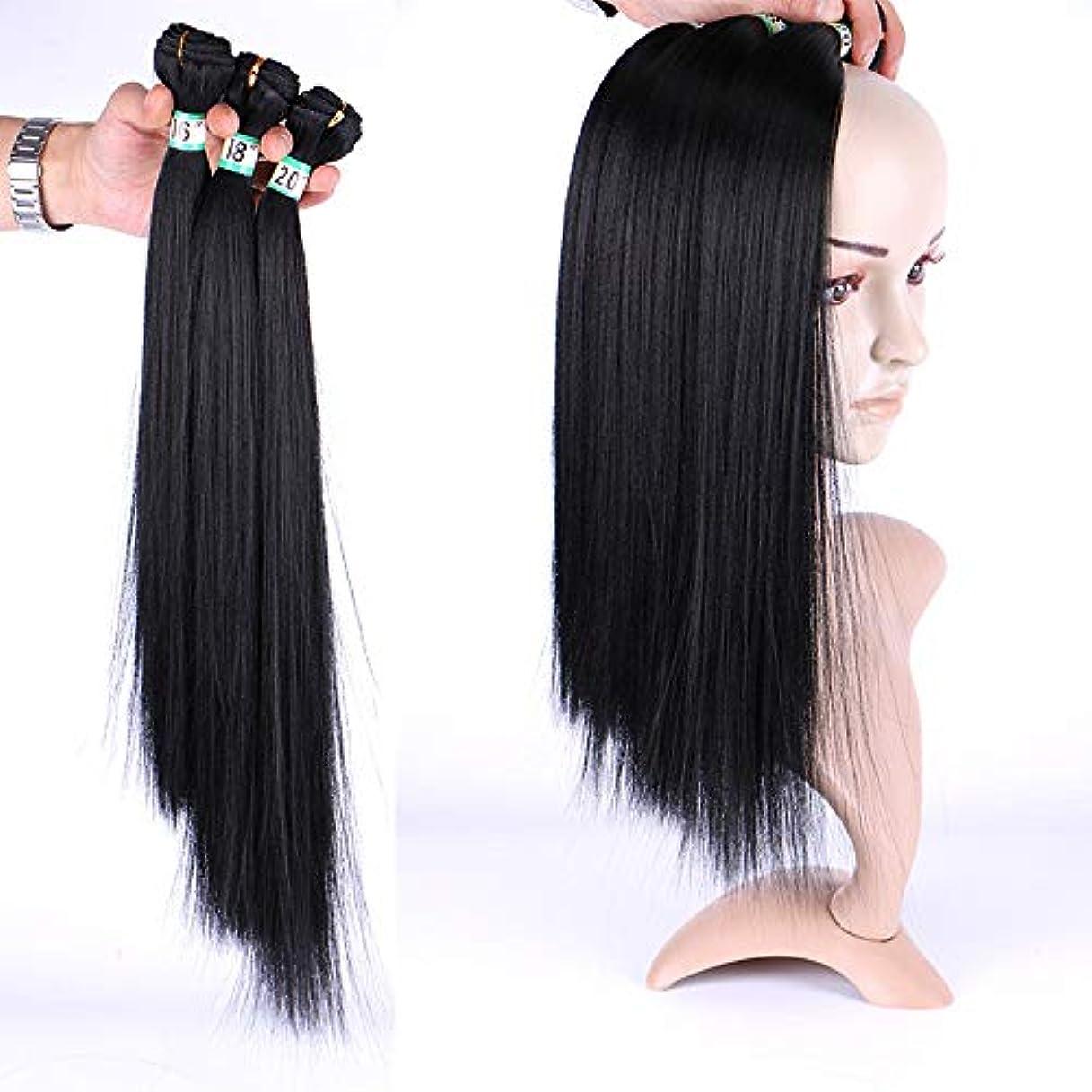 キャリッジ空いているサージHOHYLLYA 女性のシルキーストレートヘア3バンドル髪織りエクステンション - ナチュラルブラック(1バンドル/ 70g)合成髪レースかつらロールプレイングウィッグロングとショート女性自然 (色 : 黒, サイズ :...