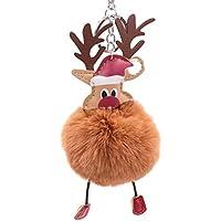 BESTONZON クリスマスエルクのキーホルダー柔らかい豪華なポンポンボールキーリングバッグの携帯電話のペンダントの魅力(コーヒー)