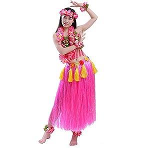 (POMAIKAI) フラダンス 衣装 フラ ダンス コスチューム レイ ベアトップ スカート 8点 セット (ピンク)