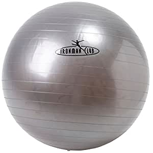 鉄人倶楽部(IRONMAN・CLUB) ヨガ ボール 75cm シルバー IMC-69 バランスボール エクササイズ 体幹トレーニング ポンプ付