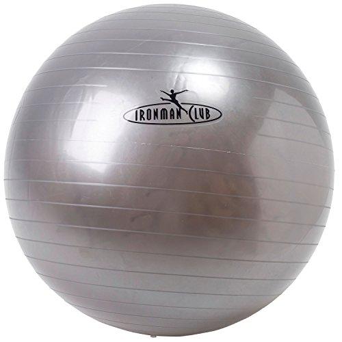 IRONMAN CLUB(鉄人倶楽部) ヨガ ボール 75cm シルバー IMC-69 ポンプ付 バランス トレーニング