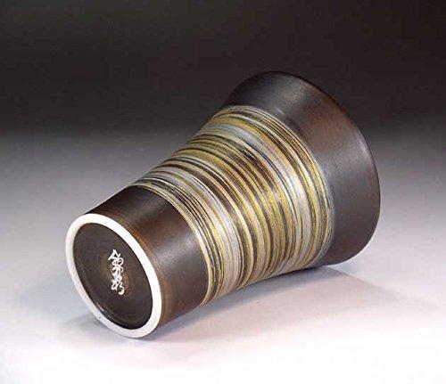 日本の伝統工芸品|有田焼陶器窯変金プラチナ刷毛目焼酎カップ|陶芸家藤井錦彩