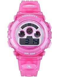 FORESEEX 男女兼用子供用スタンダードデジタル日常生活防水LED腕時計(ピンク) FSX-519G