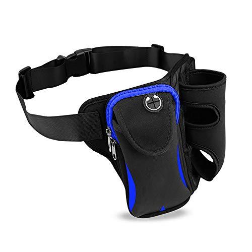 ウエストバッグ ショルダー付き 水筒入れ 多機能 軽量 大容量 メンズ レディース ウエストバッグ アウトドア 水筒ポーチ付き 旅行 登山 散歩などに適用 メンズ レディース (青)