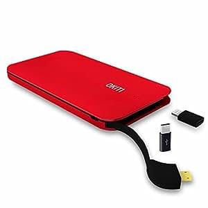 OKITIモバイルバッテリー10000mAh 2台同時充電 3.0A 超薄型モバイルバッテリー ケーブル(lightningとType-Cアダプタ付き)急速 スマホ 充電器 防災グッズ レッド