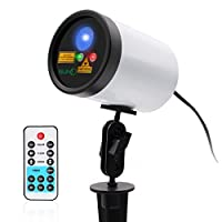 Waterproof Outdoor Laser Light Christmas Lights Red Green Garden Lighting Projector Remote Control RG 20 Patterns Blue LED Metal Housing Landscape Yard House Party Family Show Event [並行輸入品]