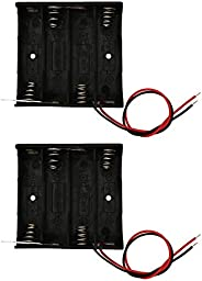 Ecool Battery Case, Battery Holder, Battery Box, Wire, 4 x AA, 2 Pack