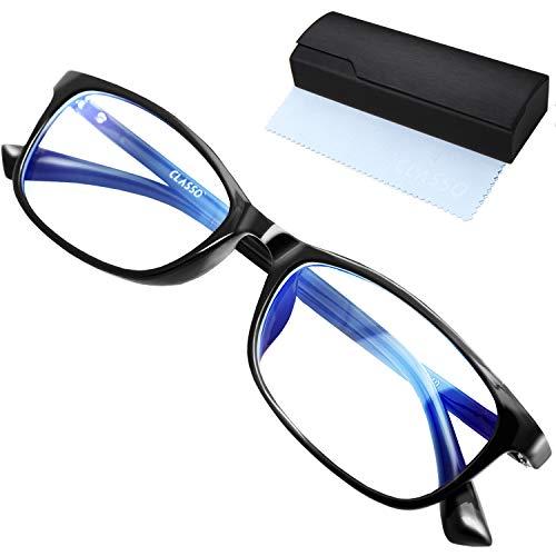 CLASSO ブルーライトカット メガネ PCメガネ ブルーライト 30%カット UVカット 伊達メガネ ファッション スクエア 収納ケース クロス 付属 3点セット (ブラック)