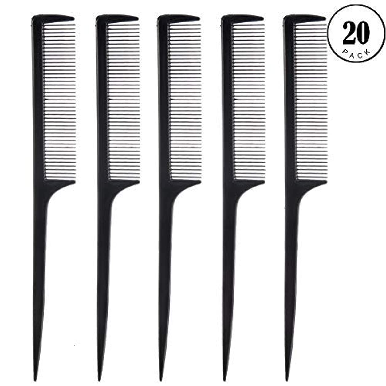 引っ張る司教ローブFeeko Comb, 20 Pieces 21CM Plastic Lightweight Rat Tail Comb All Hair Types Black [並行輸入品]