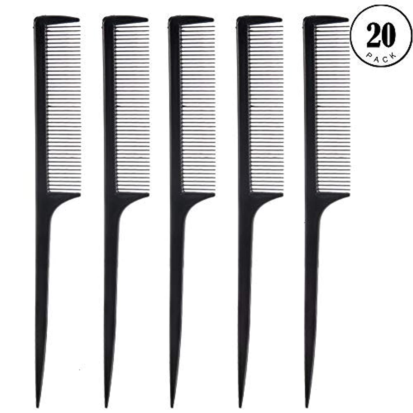 流星十分な学習者Feeko Comb, 20 Pieces 21CM Plastic Lightweight Rat Tail Comb All Hair Types Black [並行輸入品]