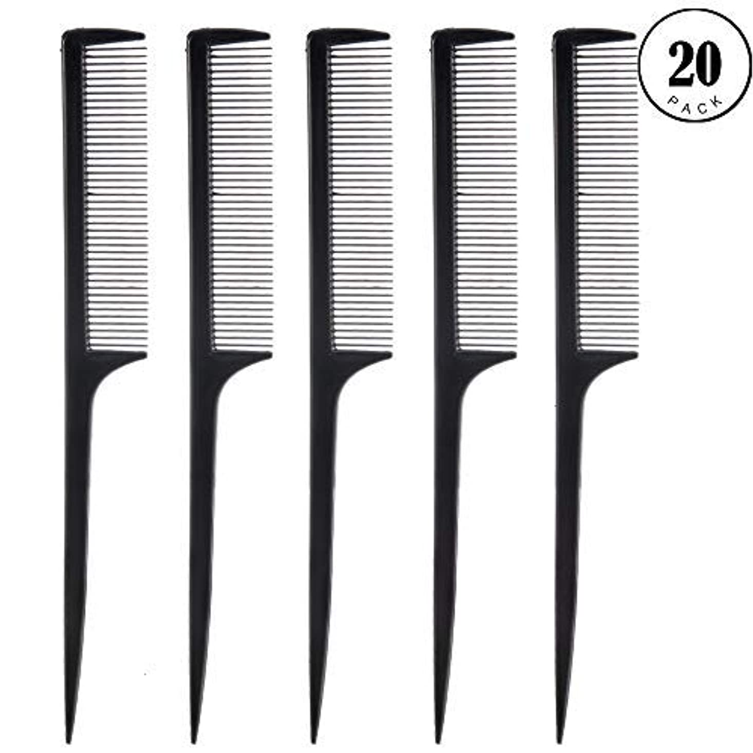 系譜パトロール自動車Feeko Comb, 20 Pieces 21CM Plastic Lightweight Rat Tail Comb All Hair Types Black [並行輸入品]