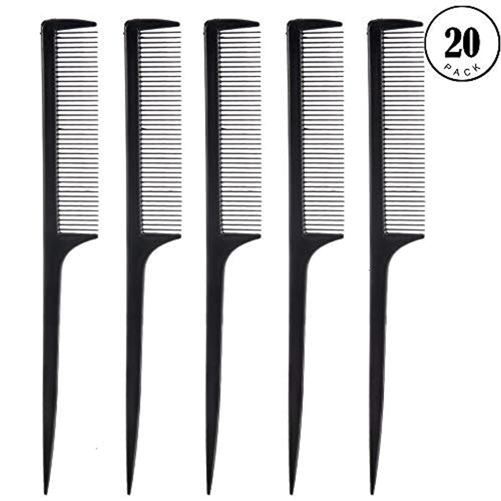 デコードする簡単な熟すFeeko Comb, 20 Pieces 21CM Plastic Lightweight Rat Tail Comb All Hair Types Black [並行輸入品]