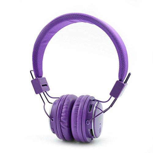 【1年間安心保証】 ワイヤレスヘッドホン マイクあるの SDカード FMラジオ機能 回転式Bluetoothヘッドフォン 折りたたみ 3.5mmオーディオ有線ヘッドセット 対応 ステレオCD音質 ノイズキャンセル MP3プレーヤー スマートフォン/タブレットPC /ノート PCなど対応 (紫)