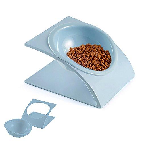 犬 猫 食器 食べやすい 傾きあり エサ皿 手入れ簡単 (スカイブルー)