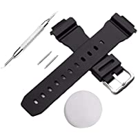 Watch Band Strap Replacement for Casio G Shock DW-6900 Rubber Silicone Watchband Ear Batch Needle Kakiyi
