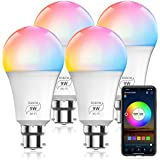HaoDeng WiFi LED Light, 4Pack Smart Bulb -Timer& Sunrise& Sunset- Dimmable, Multicolor, Warm White (Color Changing Disco Ball Lamp) - 9W A19 B22(80W Equivalent), Compatible with Alexa, Google Home Assistant and IFTTT