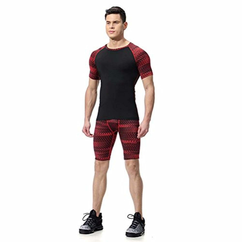 kayiyasuジャージ上下セット メンズ Tシャツ トレーニングウエア 半袖 ジム 練習着 吸汗速乾 043-sgt-l06(2XL レッド)