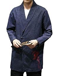 maweisong メンズビンテージ刺繍ロングスリーブカエルボタンスーツコートコートアウト