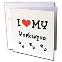 BrooklynMemeペット–I Love My–Yorkiepoo–グリーティングカード Set of 12 Greeting Cards